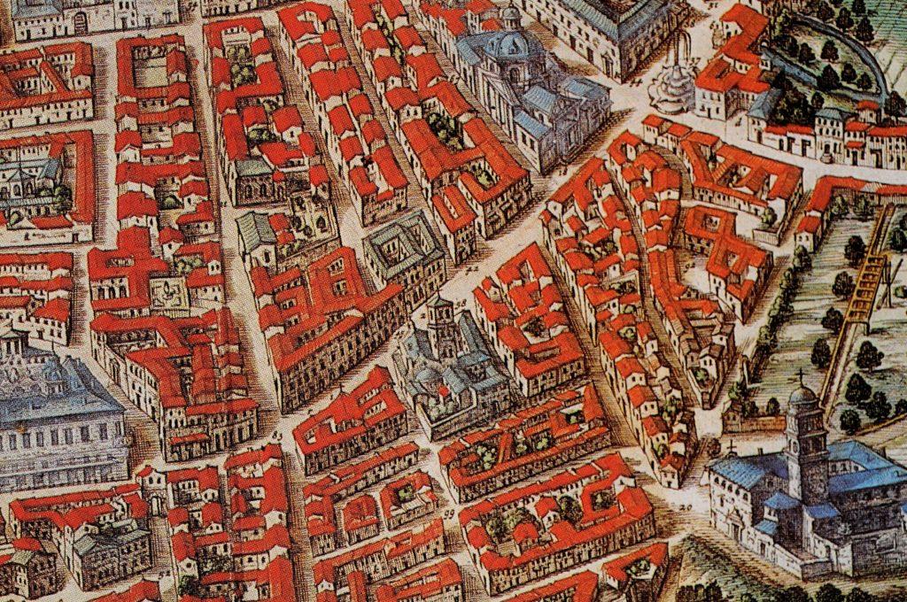 Particolare della pianta prospettica del Blaeu, 1663